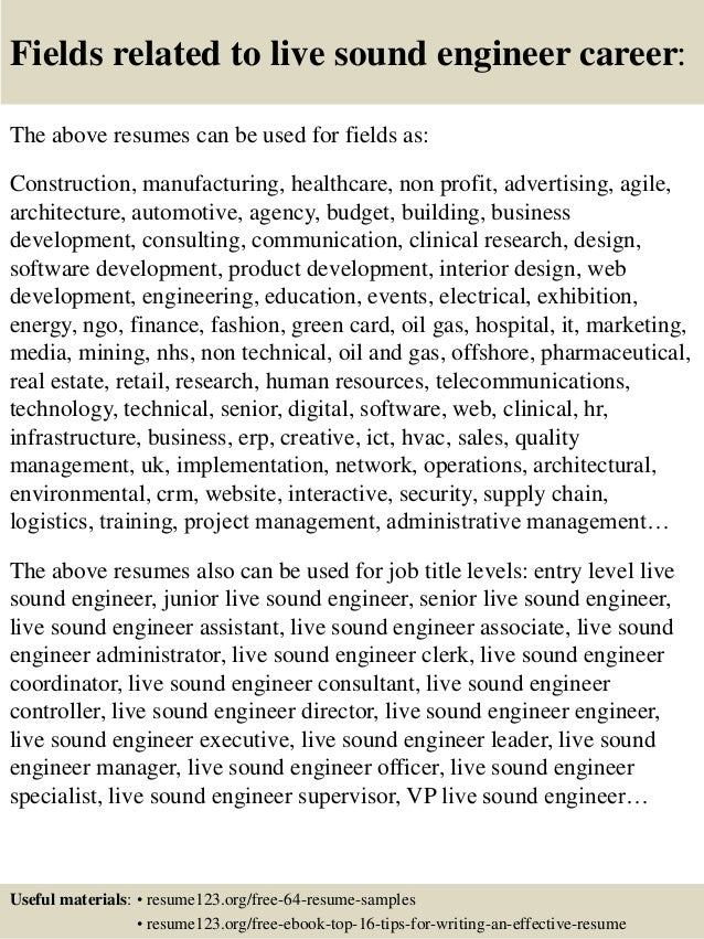 Assistant Recording Engineer Sample Resume assistant engineer trainee resume samples 16 Fields Related To Live Sound Engineer