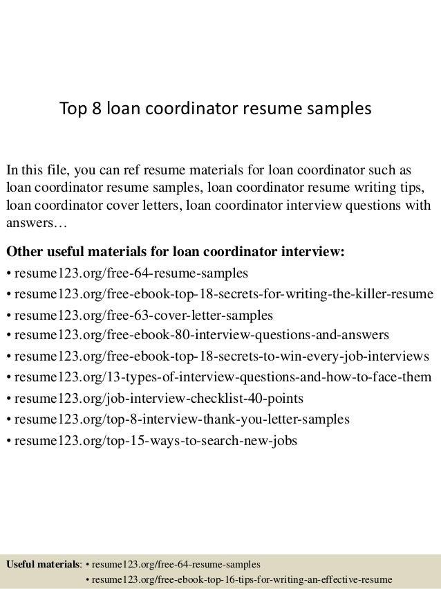 top 8 loan coordinator resume samples