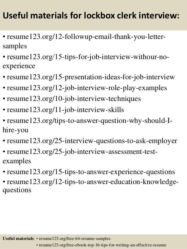 Top 8 Lockbox Clerk Resume Samples