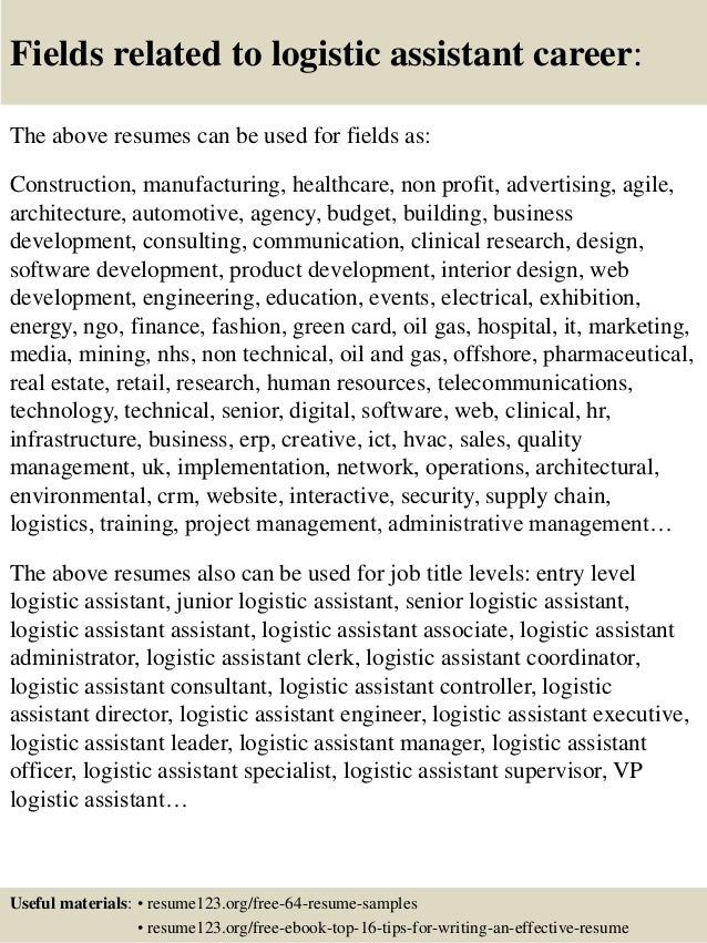 Top 8 logistic assistant resume samples