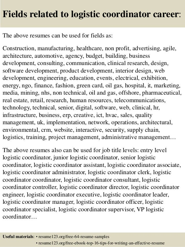 top 8 logistic coordinator resume samples