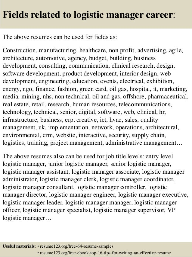 sample logistics manager resumes