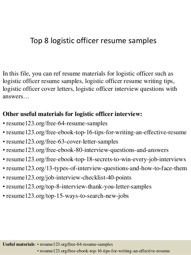 Top 8 Logistic Officer Resume Samples In This File, You Can Ref Resume  Materials For ...