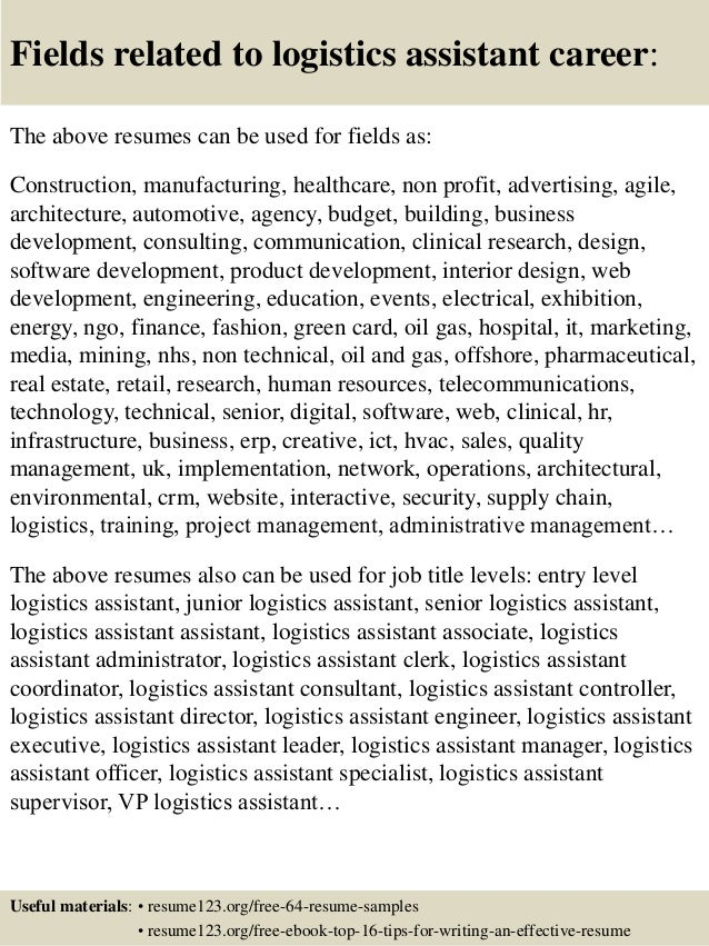 logistic resumes samples