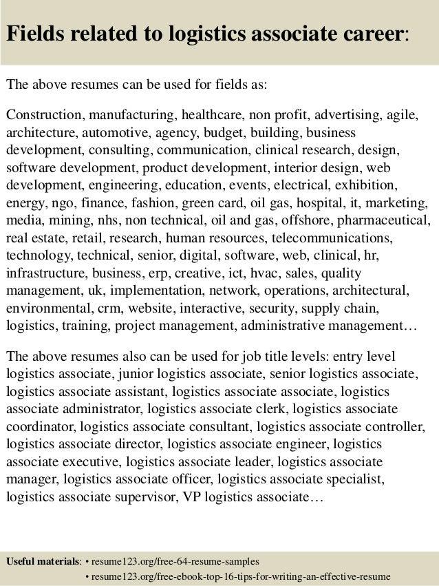logistics associate sample resume - Templates