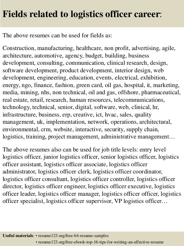 ... 16. Fields Related To Logistics Officer ...