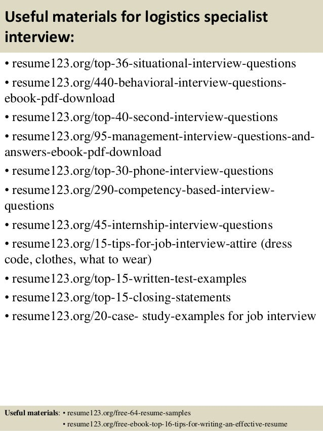 Top  Logistics Specialist Resume Samples