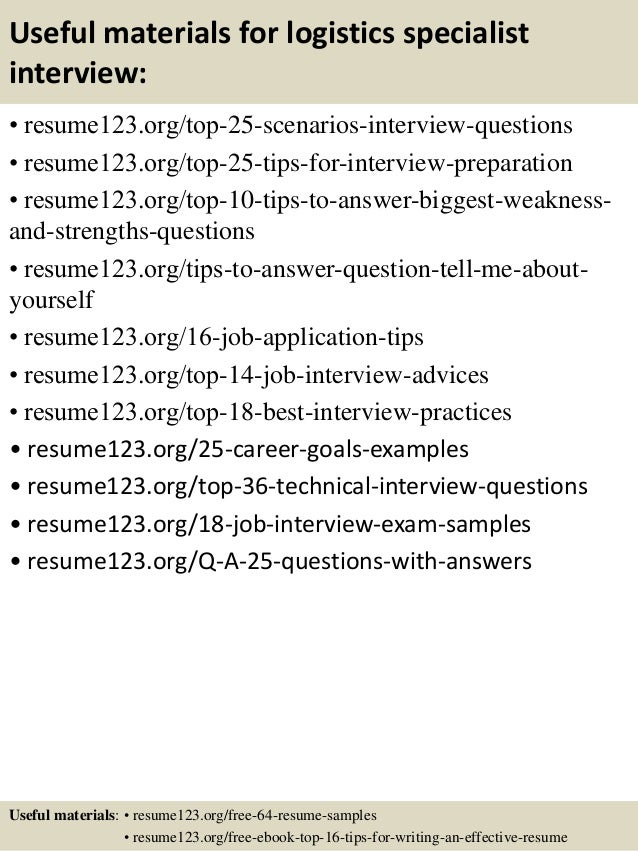... 13. Useful Materials For Logistics Specialist ...  Logistics Specialist Resume