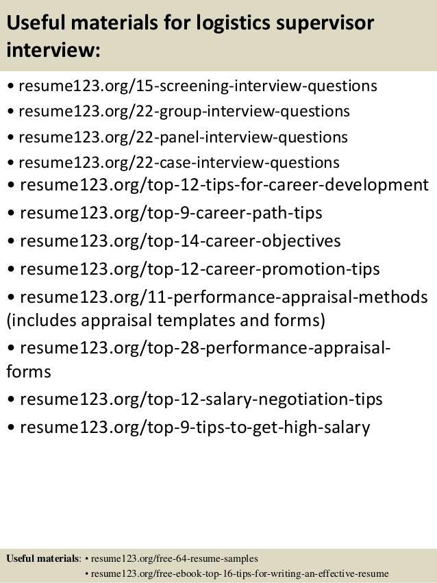 top 8 logistics supervisor resume samples