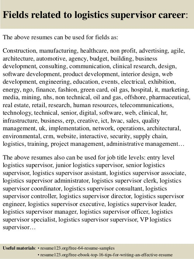 ... 16. Fields Related To Logistics ...  Logistics Resume Samples