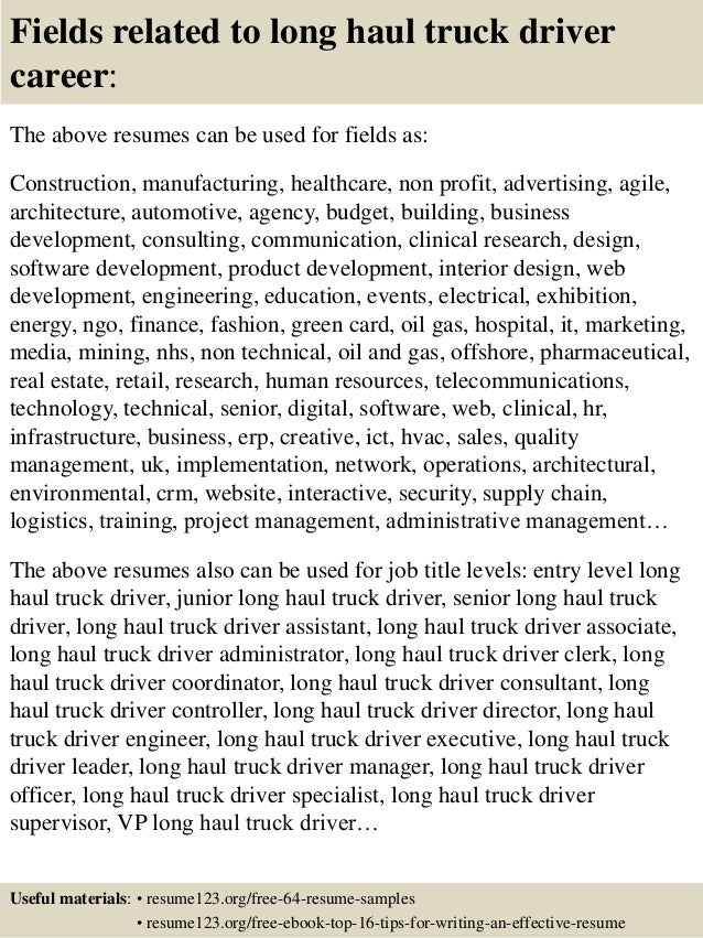 16 fields related to long haul truck driver