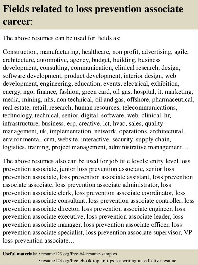 Amazing ... 16. Fields Related To Loss Prevention Associate Career: The Above  Resumes ...