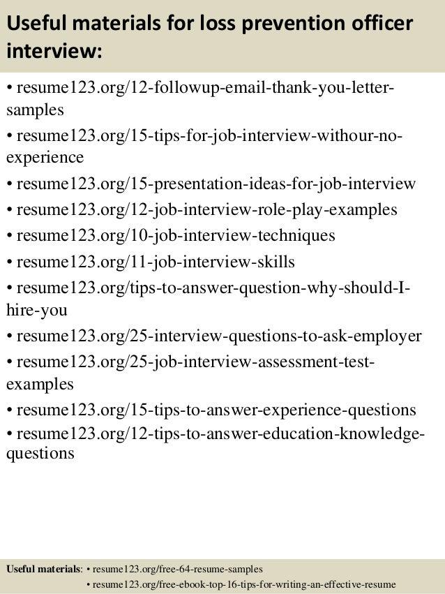 Top 8 loss prevention officer resume samples