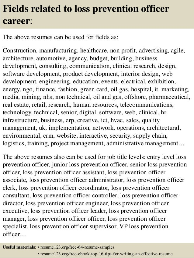 ... 16. Fields Related To Loss Prevention ...  Loss Prevention Resume