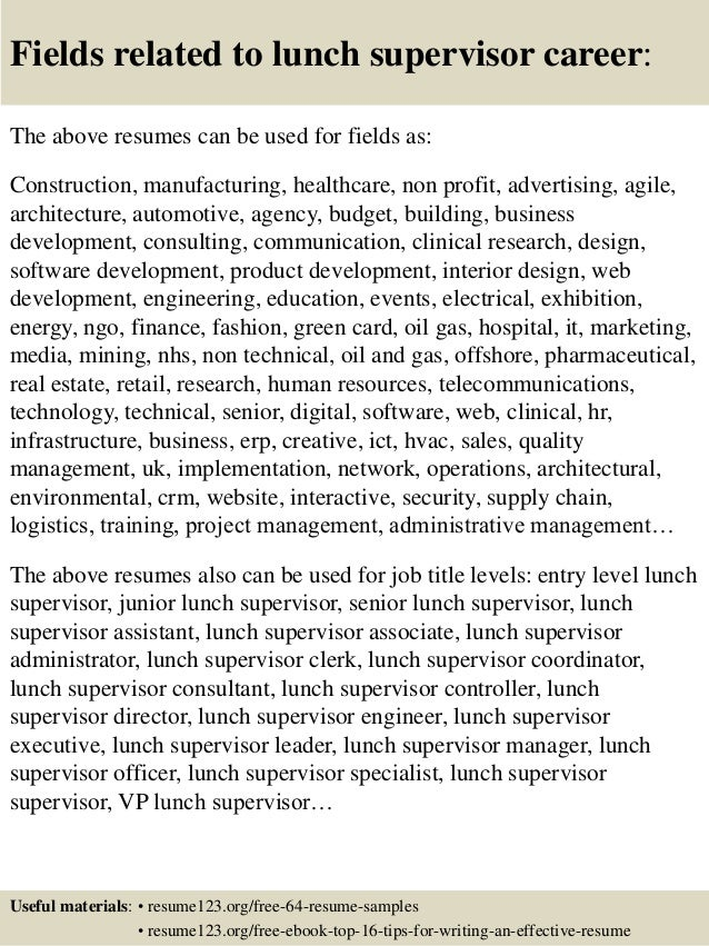 Best Lunch Supervisor Resume Pictures - Simple resume Office .