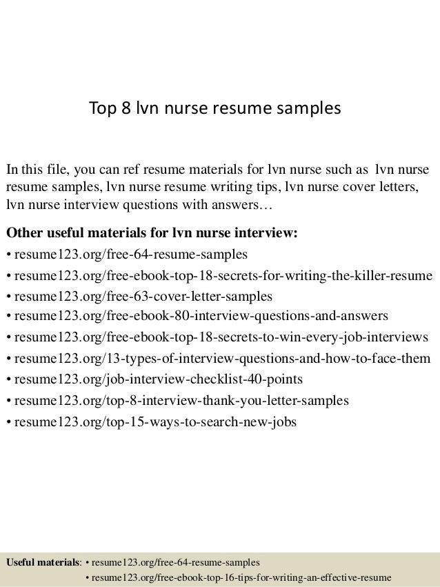 sample nurse lvn resume