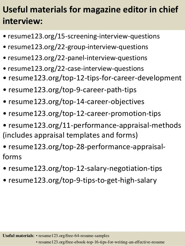 top 8 magazine editor in chief resume samples