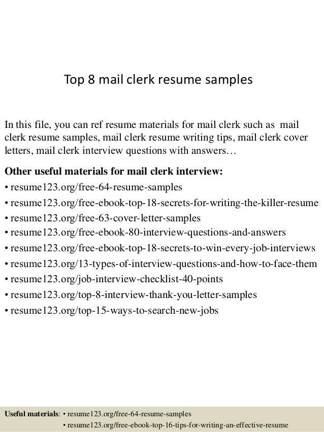mail clerk resumes