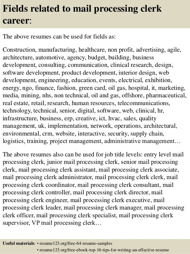 16 Fields Related To Mail Processing Clerk