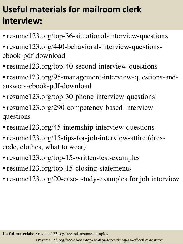 12 useful materials for mailroom clerk - Mailroom Worker Sample Resume
