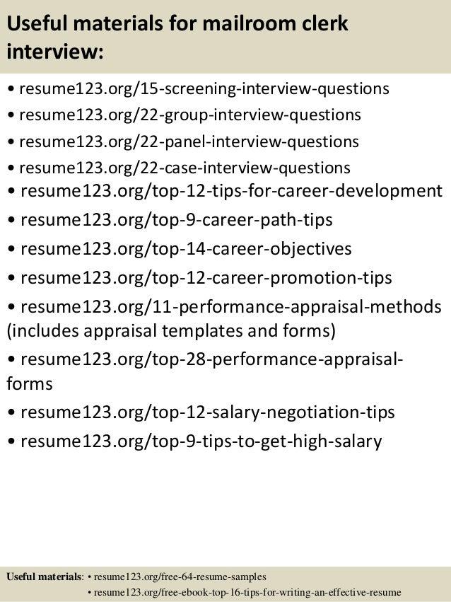 top 8 mailroom clerk resume samples