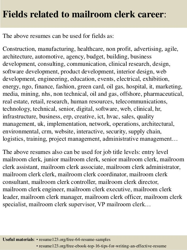16 fields related to mailroom clerk - Mailroom Worker Sample Resume