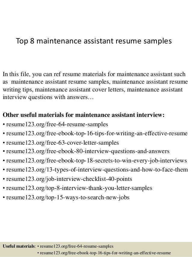 building maintenance resume format top assistant samples templates mechanic template