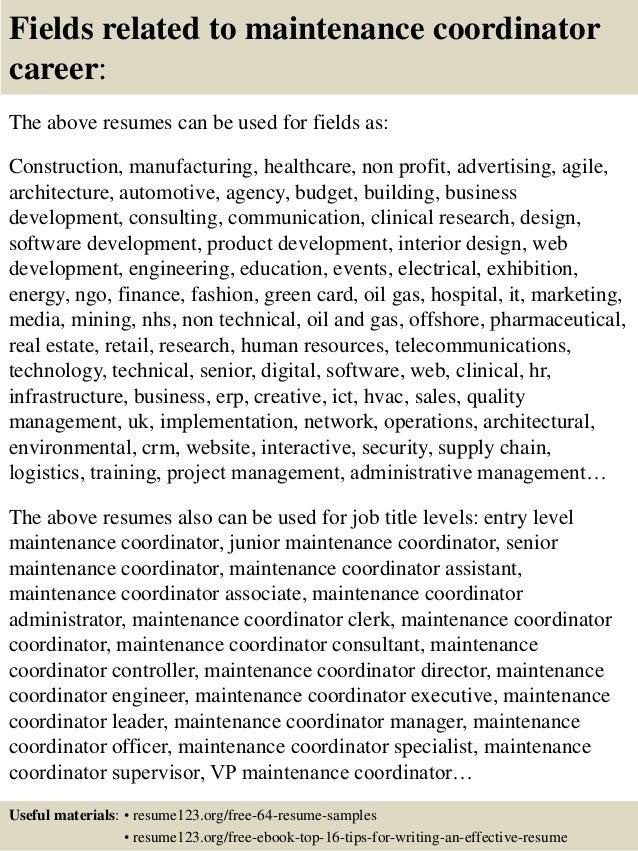16 fields related to maintenance coordinator