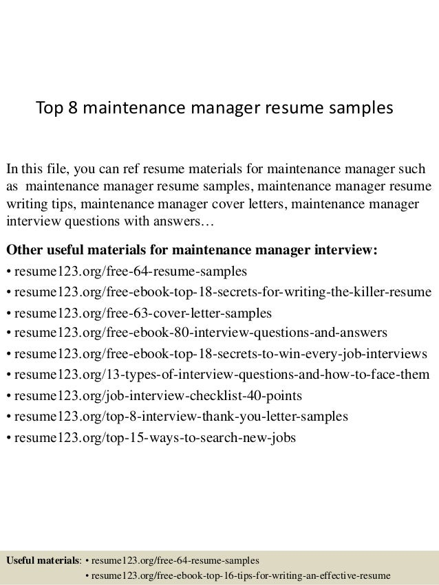 top 8 maintenance manager resume samples in this file you can ref resume materials for - Maintenance Resume Samples