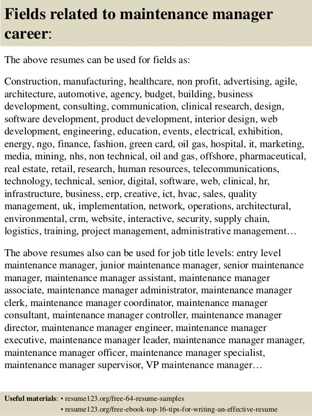 16 fields related to maintenance manager