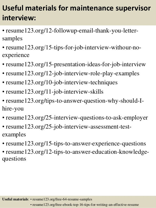 14 useful materials for maintenance supervisor - Apartment Maintenance Supervisor Resume