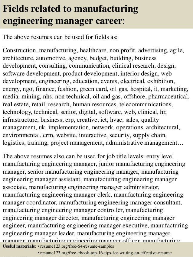 ... 16. Fields Related To Manufacturing Engineering Manager ...  Engineering Manager Resume
