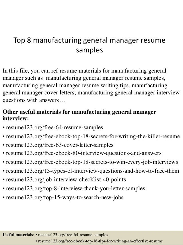 top 8 manufacturing general manager resume samples