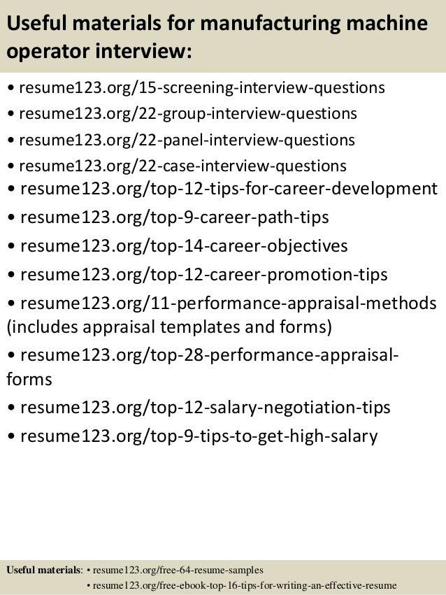 sample resume for machine operator