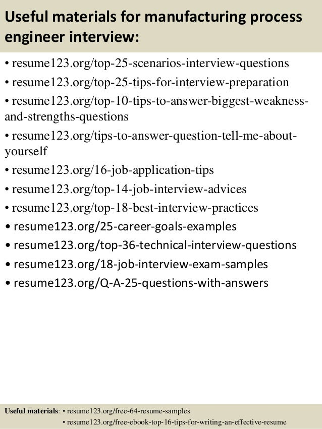sample resume for process engineer