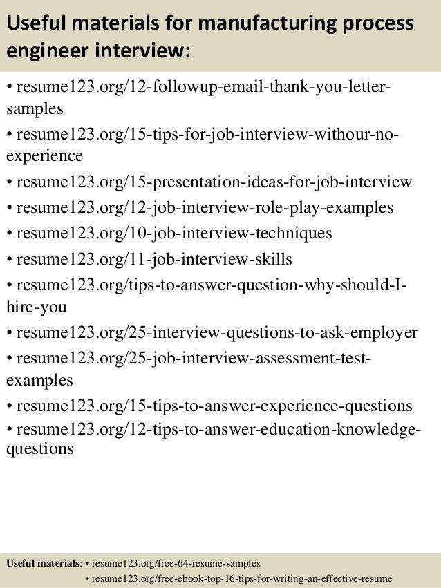Top 8 manufacturing process engineer resume samples