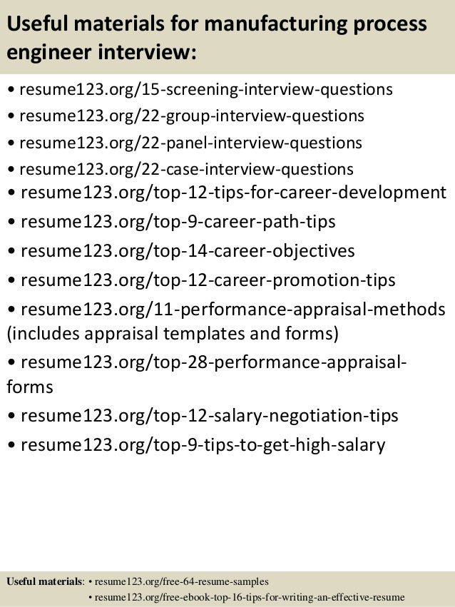 resume process engineer