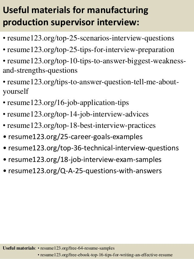 Top 8 Manufacturing Production Supervisor Resume Samples