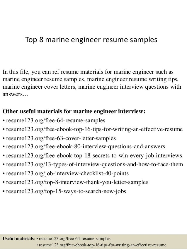 top 8 marine engineer resume samples in this file you can ref resume materials for - Marine Resume Examples
