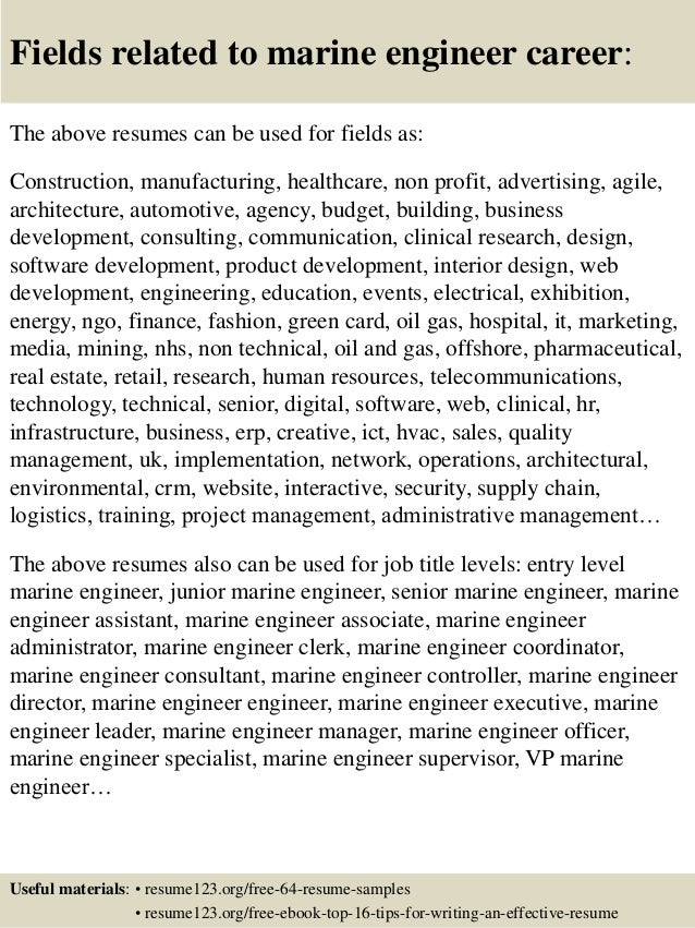 16 fields related to marine engineer - Marine Electrical Engineer Sample Resume