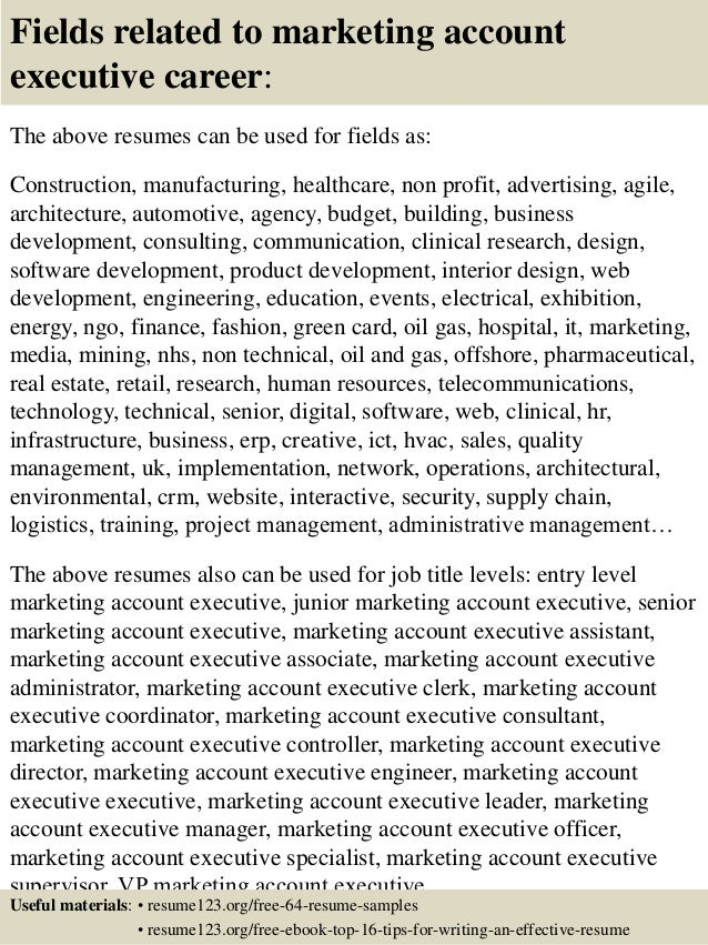 Top 8 Marketing Account Executive Resume Samples