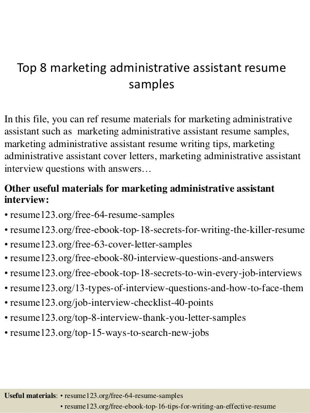 marketing administrative assistant resumes