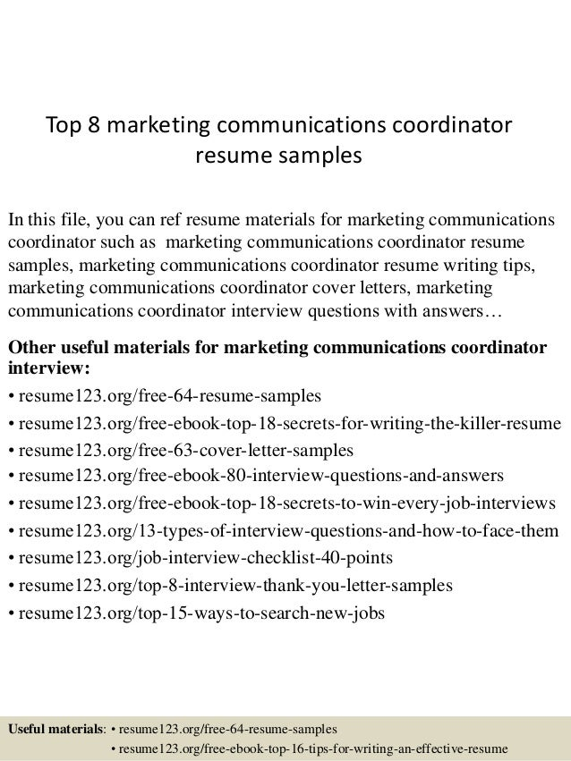 top 8 marketing communications coordinator resume samples in this file you can ref resume materials - Resume Samples For Marketing