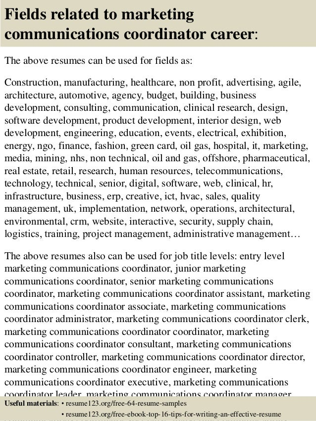 top 8 marketing communications coordinator resume samples