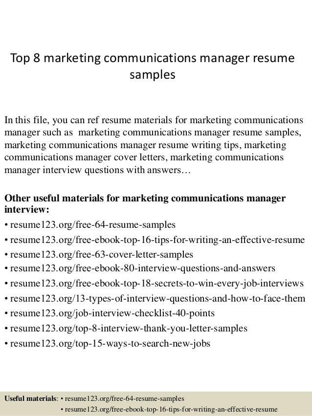 resume samples marketing communications