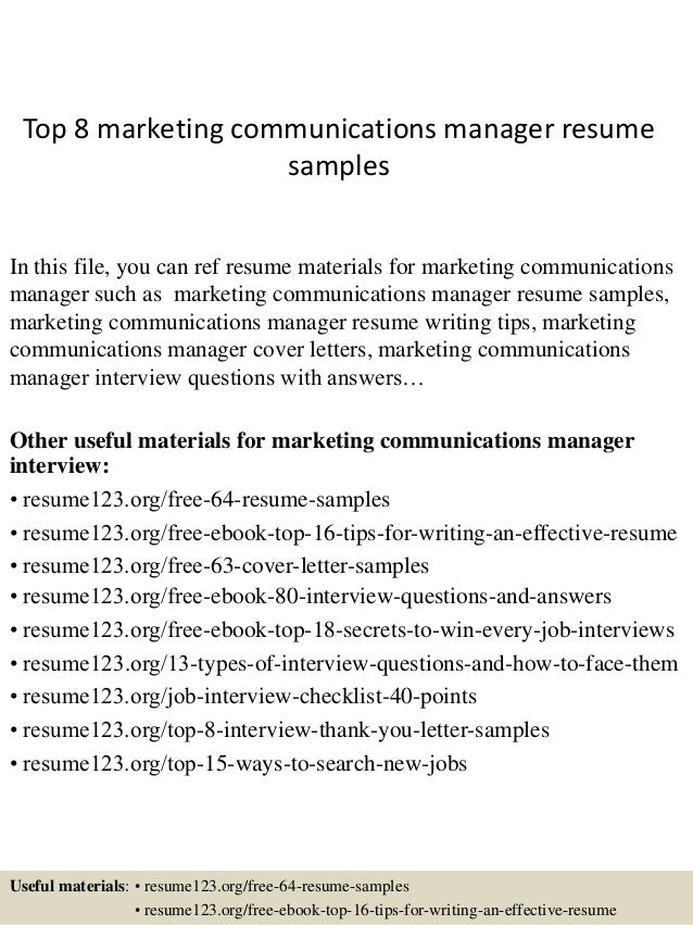 top 8 marketing communications manager resume samples in this file you can ref resume materials - Resume Samples For Marketing