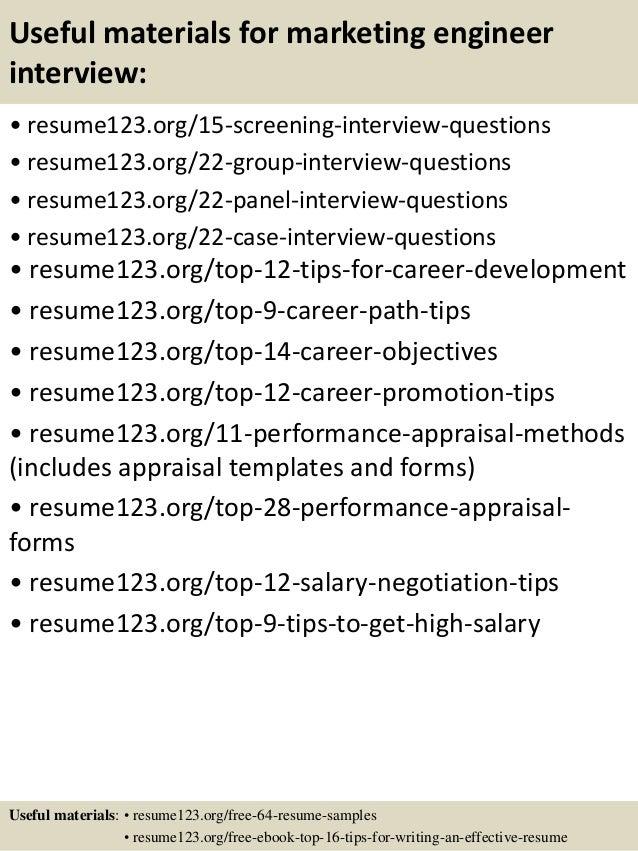 15 useful materials for marketing engineer - Marketing Engineer Sample Resume