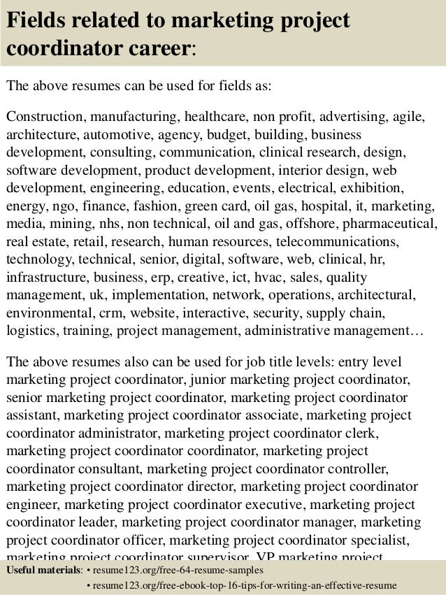 Top 8 Marketing Project Coordinator Resume Samples