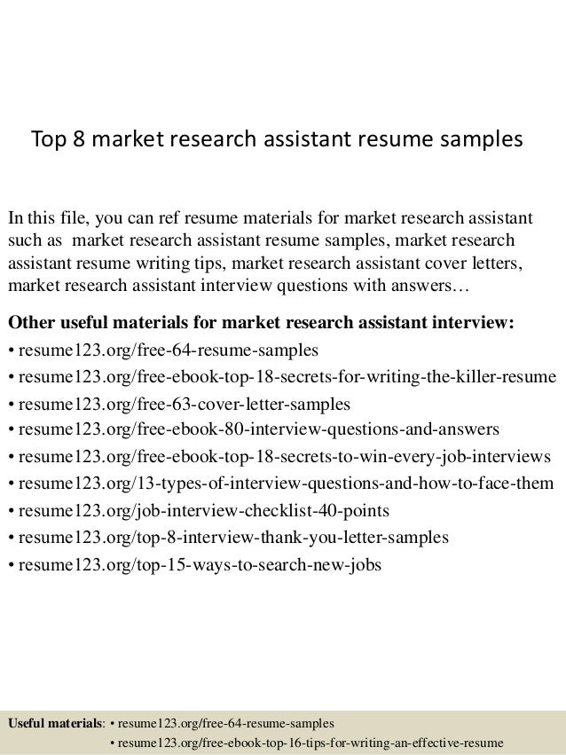 top 8 market research assistant resume sles