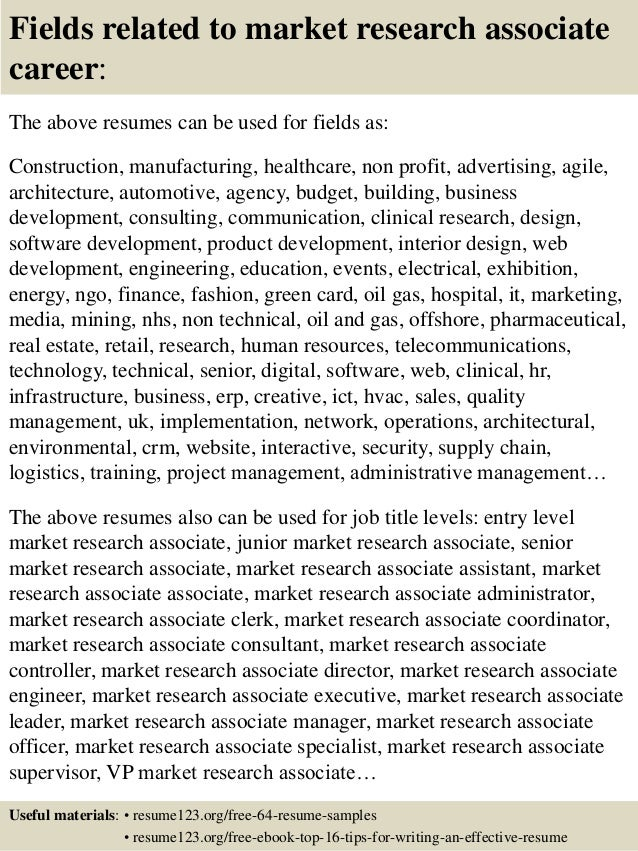 ... 16. Fields Related To Market Research Associate ...  Research Associate Resume